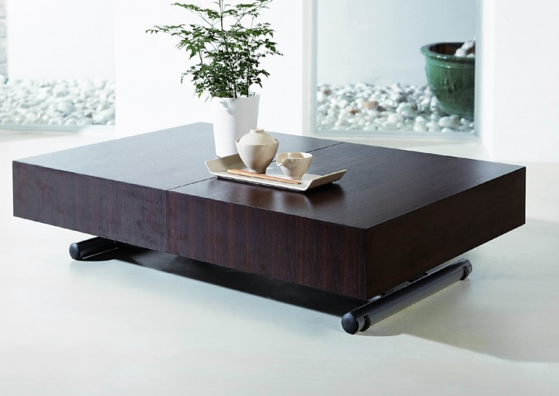 Table basse relevable de salon - Table basse convertible en table u00e0 manger ...