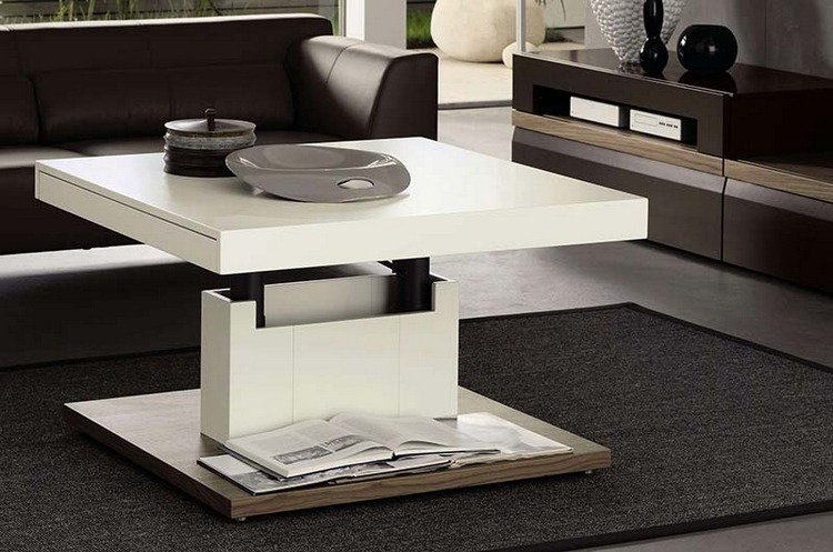 Table basse relevable le choix id al - Table basse blanche relevable ...